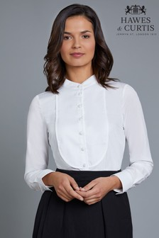 Hawes & Curtis White Boutique Blouse With Textured Bib Front