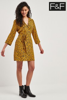 F&F Orange Tiger Print Shirt Dress