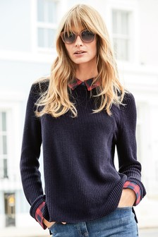 Woven Collar Layer Knit