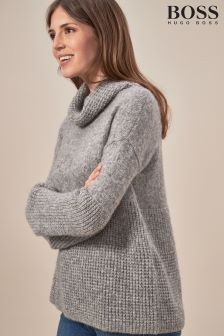 BOSS Luxury Alpaca And Wool Grey Roll Neck Jumper