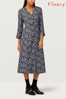 Finery London Daniella Blue And Black Ditsy Floral Dress