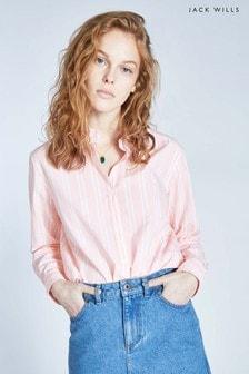 Jack Wills Pale Pink Guilden Stripe Boyfriend Shirt