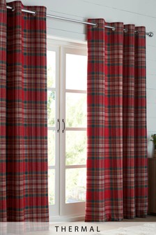 Crafted Thornly Woven Check Eyelet Super Thermal Curtains