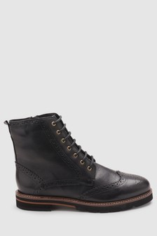 Signature Comfort Chunky Lace-Up Brogue Boots