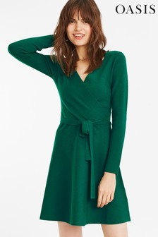 Oasis Green Millie Tie Side Knit Dress