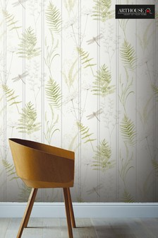 Arthouse Natural Nature Panel Leaves And Dragonflies Wallpaper