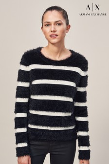 Armani Exchange Black/White Stripe Fluffy Knit