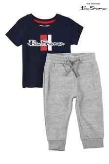 Ben Sherman® Blue Mod Script T-Shirt And Joggers Set