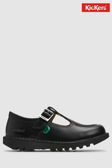 Kickers® Black Leather Kick T-Bar Shoe