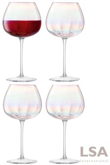 Set of 4 LSA International Pearl Red Wine Glasses