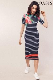Oasis Blue Amya Stripe & Print Tube Dress