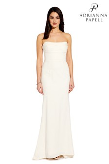 Adrianna Papell White Knit Strapless Gown