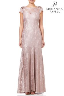 Adrianna Papell Silver Long Metallic Lace Dress