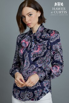Hawes & Curtis Blue Paisley Fitted Satin Shirt