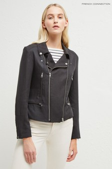 French Connection Black Pera Linen Biker Jacket