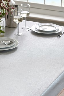 Wipe Clean Silver Glitter Tablecloth