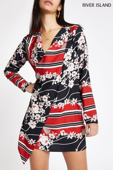 River Island Red Scarf Print Swing Dress