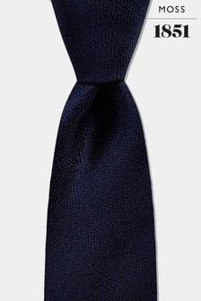Moss 1851 Navy Melange Silk Tie