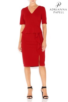 Adrianna Papell Red Knit Crepe Draped Peplum Dress