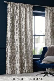 Geo Jacquard Eyelet Super Thermal Curtains