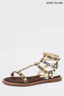 River Island Khaki Stud Gladiator Sandals