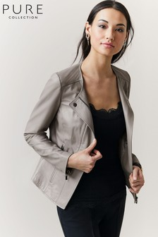 Pure Collection Grey Leather Revere Collar Jacket