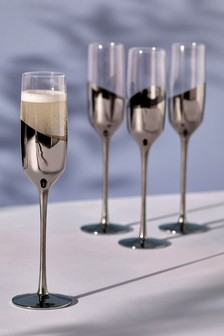Set of 4 Silver Effect Champagne Flutes