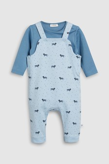 Printed Dungarees And Bodysuit Set (0mths-2yrs)
