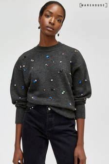 Warehouse Jewel Embellished Cosy Jumper