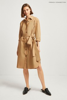 French Connection Brown Southside Cotton Belted Shirt Dress