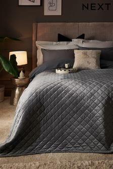 Charcoal Grey Hamilton Velvet Quilted Bedspread