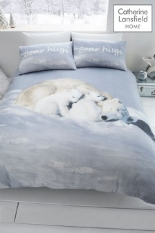 Catherine Lansfield Polar Bear Brushed Cotton Flannel Duvet Cover and Pillowcase Set