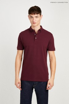 French Connection Red Parched Textured Polo