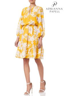 Adrianna Papell Yellow  Printed Chiffon Flared Dress