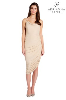 Adrianna Papell Nude Foil Jersey Dress