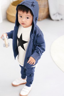 Star All Over Print Zip Through, T-Shirt And Jogger Set (3mths-7yrs)