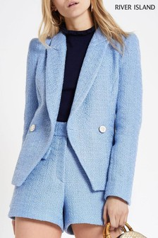 River Island Light Blue Boucle Blazer