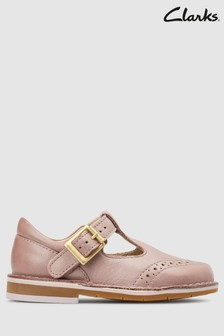 Clarks Pink Leather Comet Reign Brogue First Shoes