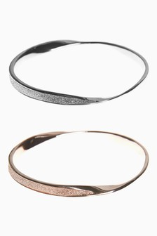 Glitter Detail Twist Bangle Pack