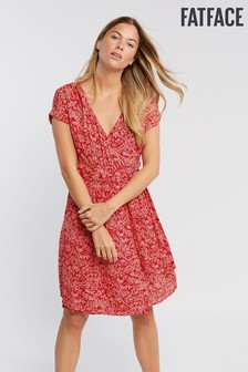 FatFace Red Lily Oriental Ditsy Wrap Dress