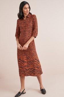 Animal Mix Print Midi Dress