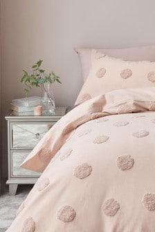 Tufted Spot Duvet Cover and Pillowcase Set