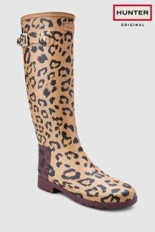 Hunter Tawny Original Refined Leopard Print Welly
