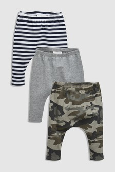 Stripe And Grey Leggings Three Pack (0mths-2yrs)