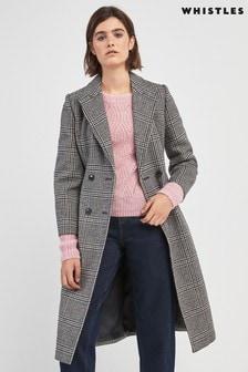 Whistles Grey Check Wrap Coat