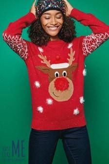 Womens Reindeer Snowflake Jumper