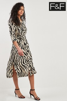 F&F Ivory Zebra Midi Shirt Dress