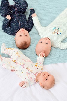 Bunny Embroidered Sleepsuits Three Pack (0mths-2yrs)