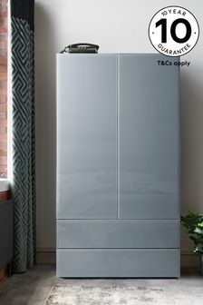 Sloane Glass Double Wardrobe with Drawers