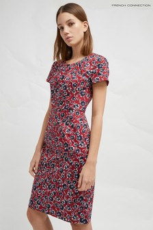 French Connection Red Floral Fitted Dress